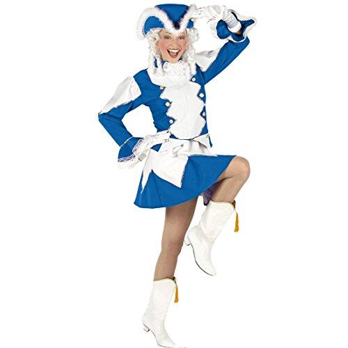 Amakando Gardekostüm Damen - S (34/36) - Tanzmariechen blau weiß Kleid Funkenmarie Funkenkostüm Garde Outfit Karneval Blaues Funkenmariechen Kostüm