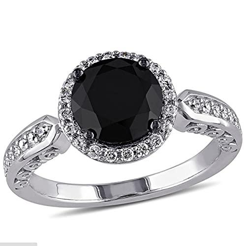 Quarter Anillo clásico para Mujer con Piedras Preciosas de obsidiana en Forma Redonda, Anillo de joyería de Plata 925 para Regalos de Fiesta de Aniversario de Boda