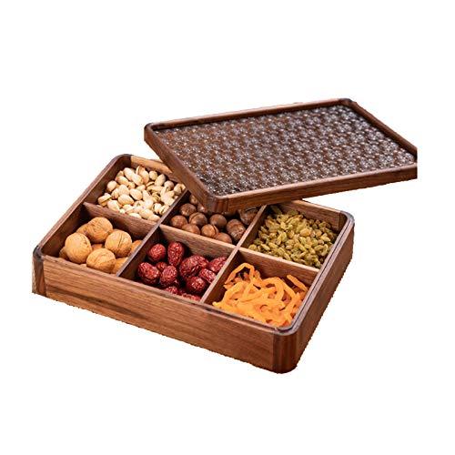 YANGYUAN Caja de Almacenamiento de bocadillos de Madera Creativa Bandeja de bocadillos de Fiesta Multifuncional con Tapa, sirviendo Platos para Frutas secas nueces Caramelos, 6 Compartimentos