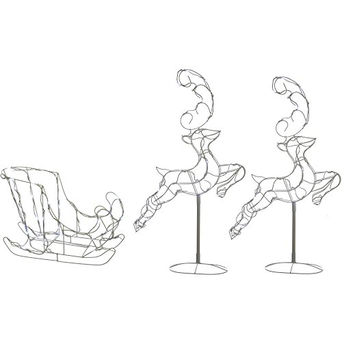 WeRChristmas Flying Reindeer Sleigh Silhouette with 120-LED Lights, 300 cm - Large, White