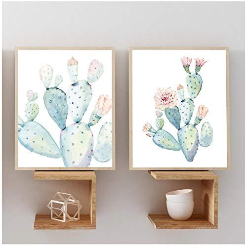 Dlfalg Nordic Art Print Pastel Cactus Canvas Schilderij Poster Botanische Wandkunst Foto's voor Woonkamer Home Decor Geen Frame- 40X60Cmx2 Unframed