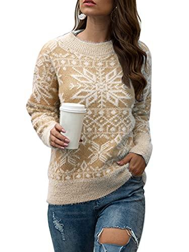 Cárdigan de Navidad para mujer, casual, manga larga, estampado de ciervos, moda suelta, botón de punto, abrigo, Outwear, D-caqui, S