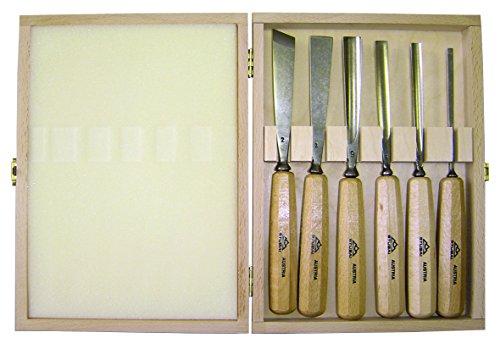 Stubai 9002793847368 Lot de ciseaux à bois avec coffret en bois Noir