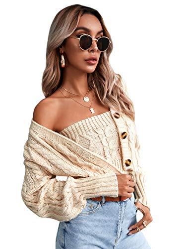 Romwe Women's Loose Long Sleeve Knit Button Down Cardigan Sweaters 2 Pieces Sweatshirt Pullove Crop Top Sets Apricot Small