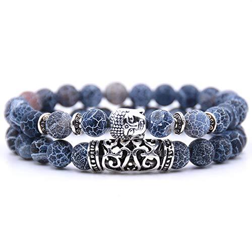 Bracelet Perle Bouddhiste - Deux Bracelets en Perles du Tibet avec amulette tête de Bouddha et Pierre de Protection Chakras - Bracelet Perles d'Énergie Bleu