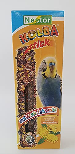 2x Budgie Sticks with DANDELION Parakeets Flask Bird Food 85g Canary Parrots Parakeet Finches Canaries Budgies Pet Seed Pack of Two Treats Hooks