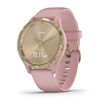 Garmin vivomove 3S Hybrid Smartwatch (Light Gold with Dust Rose Band)