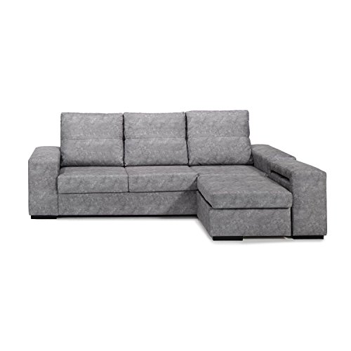 Mueble Sofa con ChaiseLongue, Arcon abatible, Tres plazas, Color Gris, cheslong ref-90