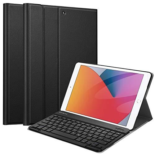 Fintie Tastatur Hülle für iPad 8. Generation (2020) / 7. Gen (2019) 10.2 Zoll - Ultradünn leicht Schutzhülle mit magnetisch Abnehmbarer Bluetooth Tastatur mit QWERTZ Layout, Schwarz