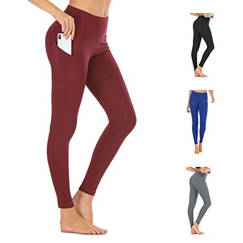 FREEZHOUSHANA Leggings Mujer Pantalones de yoga, Leggins deportivos opacos de cintura alta Medias elásticas con 2 bolsillos para fitness de ocio