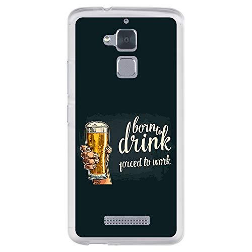 BJJ SHOP Custodia Trasparente per [ ASUS Zenfone 3 Max ZC520TL ], Cover in Silicone Flessibile TPU, Design: Amanti della Birra, Born to Drink