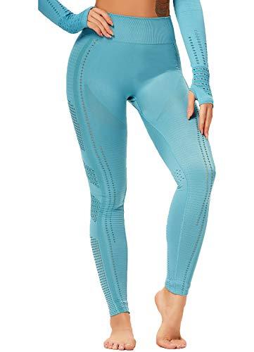 CROSS1946 Damen Sportanzug atmungsaktive Jogginganzug Oberteile Crop Top Bauchfrei Langarmshirt und Push up Leggings Sportbekleidung Set Yoga Outfit Po Lifting (seperat)