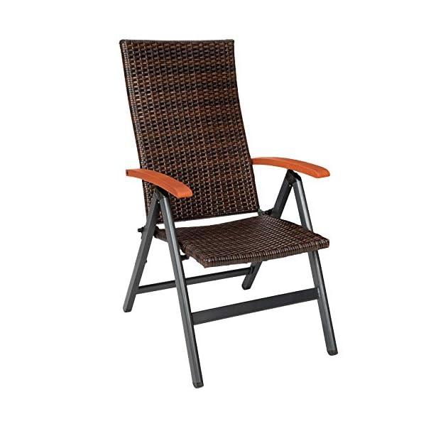 TecTake 800721 Alu Polyrattan Gartenstuhl klappbar für Garten, Balkon und Terrasse, verstellbare Rückenlehne…