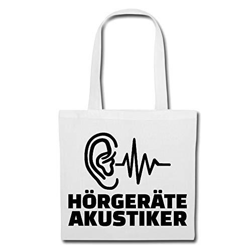 Tasche Umhängetasche Herzschlag HÖRGERÄTE AKUSTIKER - HÖRGERÄT - Ohren - Ohren Arzt - HÖRGERÄT Einkaufstasche Schulbeutel Turnbeutel in Weiß