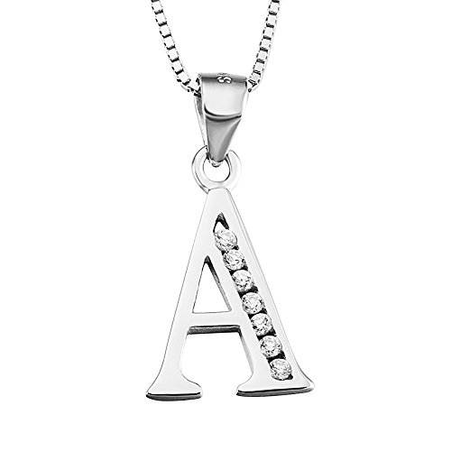Initial A Pendant Necklace in Sterling Silver with Cubic Zirconial 26 Letter Alphabet Jewelry for Women Teen Girl