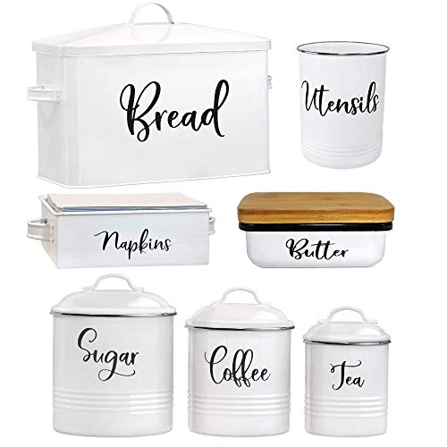 Home Acre Designs Farmhouse Kitchen Decor Metal and Stainless Steel Bundle-Utensil Holder-Canister Set for Kitchen Counter-Bread Box-Butter Dish-Napkin Holder-Farmhouse Decor-House Decor-Modern Decor