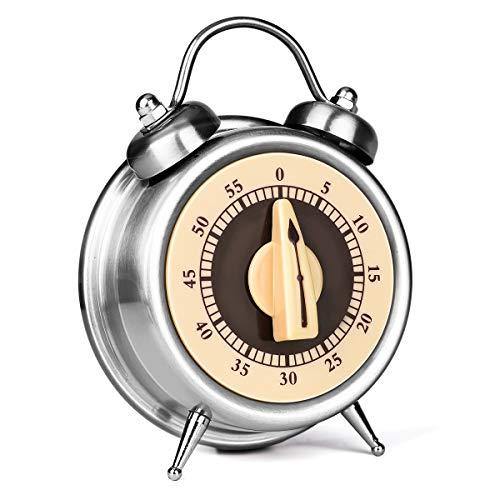 E-More Küchentimer, 60 Minuten Mechanisch Kein Akku erforderlich Countdown Timer Küchenuhr Visueller Analoger Timer, Uhrendesign, Edelstahl, zum Kochen, Lernen, Trainieren