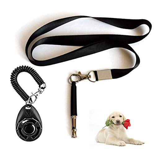Februarys Fischietto per Cani-con Cinturino per Fischietto, clicker per Cani, Fischietto Professionale per Cani ad ultrasuoni, frequenza Regolabile, Set di addestramento