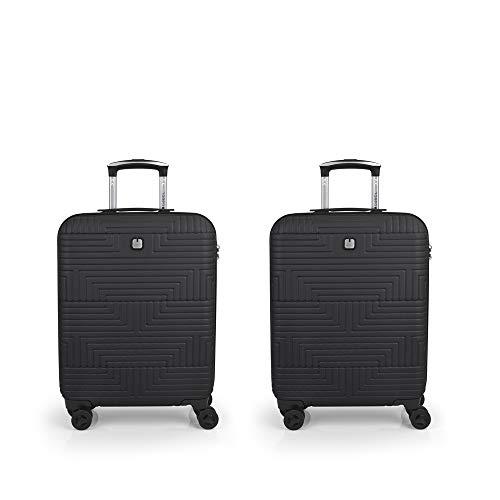Gabol - Shock   Rigid Black Travel Suitcase Set with 2 Cabin Suitcases