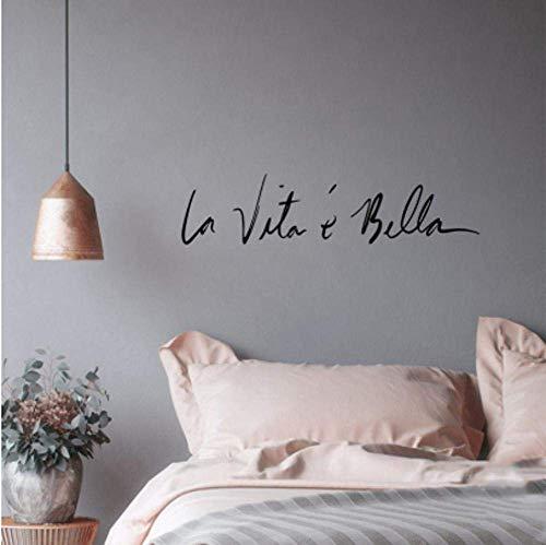 Italienisches Synonym Für Vintage Wandaufkleber Das Leben Ist So Schön Aufkleber Für Wohnzimmer Studienspiegel Home Wanddekoration 45Cmx8.8Cm