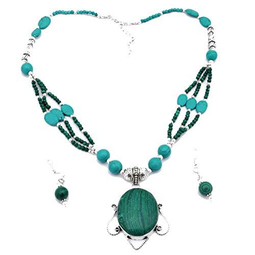 Shivi ¡Perlas DE Turquesa Azul MALAQUITA Verde! Conjunto DE Pendientes con Collar Hecho A Mano Tribal 18'de Largo, joyería de Arte chapada en Plata esterlina! Tienda de Variedad Completa!