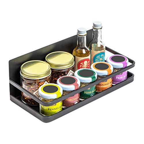 Estante magnético negro para especias para el refrigerador de cocina (9.6 x 4.4 x 3.4 pulgadas)