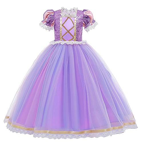 Rapunzel Disfraz de princesa con lentejuelas de encaje de tul tut de fantasa para carnaval, cosplay con peluca trenzada para la diadema de cumpleaos