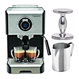 Capresso EC300 1200-Watt Espresso and Cappuccino Machine (Black/Stainless Steel) with Frothing Pitcher and Tamper Bundle (3 Items)