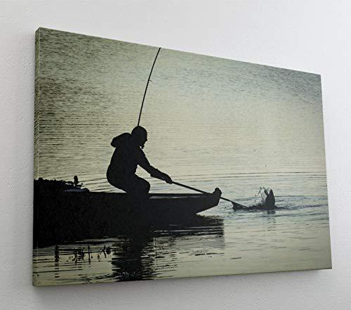 Angeln vom Boot See Leinwand Bild Wandbild Kunstdruck L0697 Größe 100 cm x 70 cm