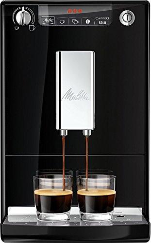 Melitta Caffeo Solo E950-101 Schlanker Kaffeevollautomat mit Vorbrühfunktion | 15 Bar | LED-Display | höhenverstellbarer Kaffeeauslauf | Herausnehmbare Brühgruppe | Schwarz