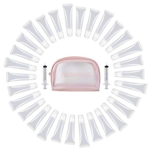 CosySun 30PZ Tubi Lip Gloss da 10ml 15ml Tubi Cosmetici Trasparenti Riempibili Vuoti per Contenere Burro Cacao per Donne Ragazze Base Lip Gloss Fai da Te con Siringa per Makeup 10ml Borsa