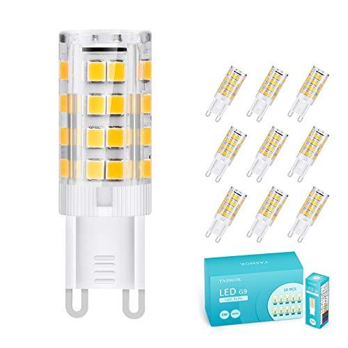 TASMOR Lampadina LED G9 5W, Lampadine G9 Led Luce Calda Equivalenti a 50W, 51-LED SMD2835, 550 Lumen, 3000K Bianco Caldo, Angolo di Fascio 360°, Nessun Lampeggio Non Dimmerabile Confezione da 10 Pezzi