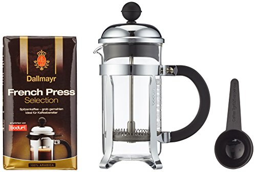 Dallmayr Kaffee Bodum Chambord Kaffeebereiter (3 Tassen) und French Press Selection (250g), 1er Pack