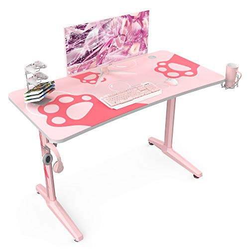 47 inch Pink Gaming Desk,Home Office Computer Desk Table W Full-Covered Mouse Pad Cup Holder Headphone Hook & Controller Stand for Girls