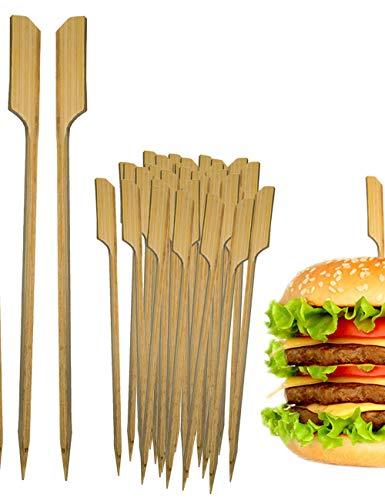 HomeTools.eu® - 100x Mini-Spieße, Hamburger-Spieße, Grill-Spieße, Sticks, Bambus Fahne, Fixieren den Burger, Holz, 8.5cm, 100 Stück