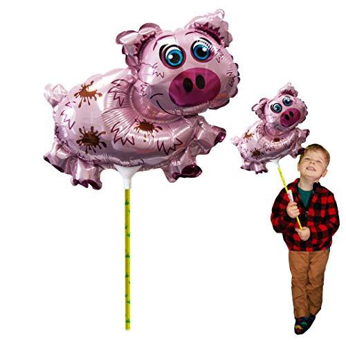 Deluxebase Ballooniacs - Schwein-Ballon. Luft gefüllter Tierballon Aufblasbare Tierballone mit 35cm aufbereiteter Karte Rod. Perfekte aufblasbare Kindergeburtstagsfeier-Dekoration.