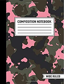 """Composition Notebook: Wide Ruled: 7.4"""" x 9.7"""" (19cm x 25cm): Pink Camo for Women & Girls"""