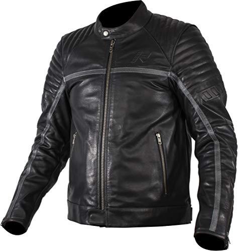 Rukka Yorkton Motorrad Lederjacke Schwarz/Silber 50
