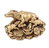 Mom and Kids Golden Feng Shui Ox Statue for Year of the Ox 2021