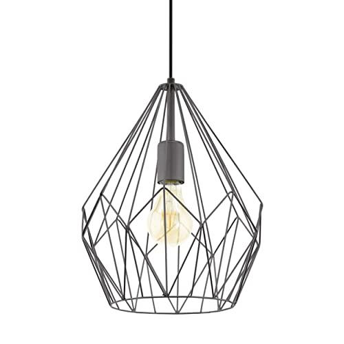 Lampada a sospensione EGLO CARLTON, lampada a sospensione a 1 punto luce vintage, lampada a sospensione retrò in acciaio, colore: nero, attacco: E27