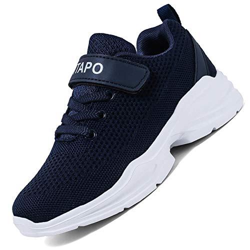 ITAPO Kinder Schuhe Turnschuhe Mädchen Hallenschuhe Jungen Sportschuhe Laufschuhe Klettverschluss Ultraleicht Atmungsaktiv Sneaker, C Blau 31 EU