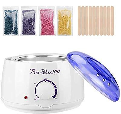 Wax Warmer, Hair Removal Kit with Hard Wax Beans, 10pcs Wax Applicator Sticks, Soft Wax, Home Waxing for Women/Men, Wax Heater