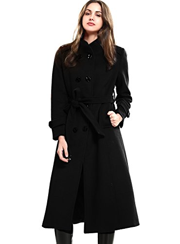 Escalier Women's Wool Trench Coat Double-Breasted Jacket with Belts Black M