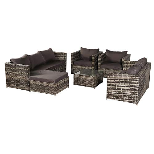 8 Seat Wicker Rattan Patio Sets Garden Furniture Sets, Indoor/Outdoor Sofa Set with Free Sofa Cover