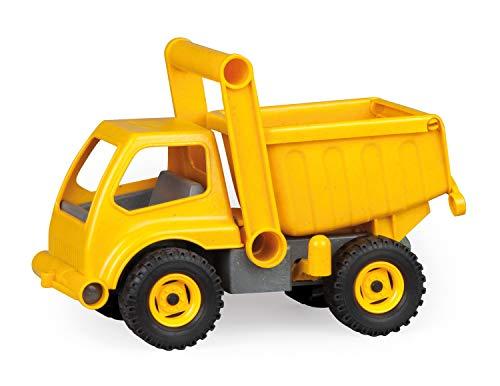 Lena 4210 EcoActives LKW Kipper, Baustellenfahrzeug ca. 27 cm, robuster Kipplaster, natürlicher Holzgeruch durch ökologischen Holzanteil, Muldenkipper für Kinder ab 2 Jahre, Spielfahrzeug in gelb