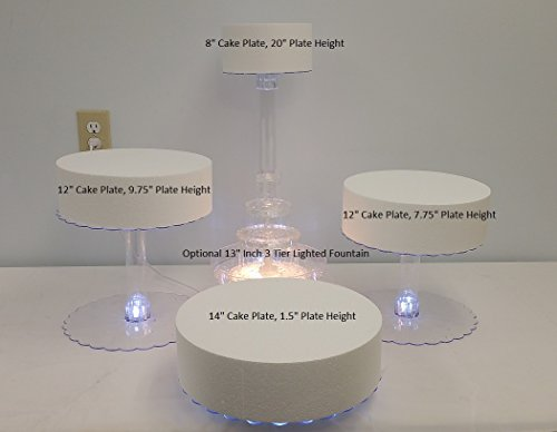 Multi Tier Wedding Cake Stand with LED Lights and Optional Water Fountain (4 Tier Stand, With Fountain)