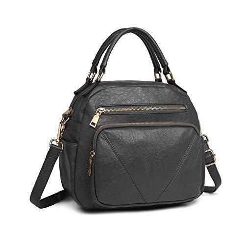 Miss Lulu Handbag for Women Fashion Crossbody Bag Bowler Style Shoulder Bag Top Handle (Grey)