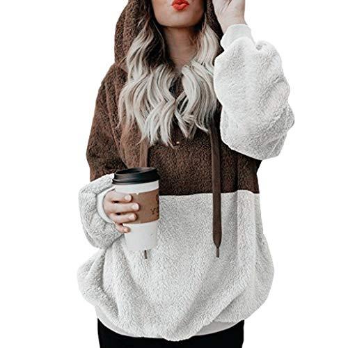 SCDZS Sudadera con capucha sólida para otoño para mujer, estilo casual, color bloque (color: B, tamaño: pequeño)
