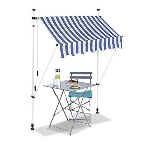 Relaxdays Auvent rétractable 150 cm Store Balcon Marquise Soleil terrasse Hauteur réglable sans perçage, Bleu-Blanc, 150 x 120 cm