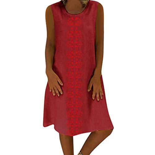 Damen Sommerkleider Retro Style Print Shirt Mit V-Ausschnitt Ärmellose Oberteile Baumwolle Und Leinen Lässig Plus Größe Lose Tunika Freizeitkleider Leinenkleid Tuchkleid Blusenkleid Rot XL